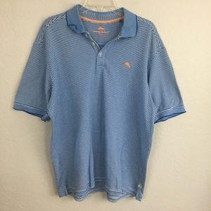 Tommy Bahama Supima Blue White Stripe polo-XL